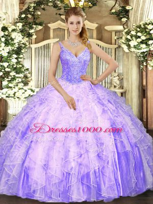 V-neck Sleeveless Lace Up Quinceanera Gowns Lavender Tulle