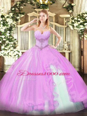 Most Popular Beading and Ruffles Quinceanera Dress Lilac Lace Up Sleeveless Floor Length