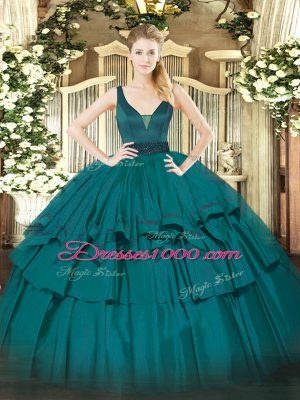 Hot Sale Teal Organza Zipper Vestidos de Quinceanera Sleeveless Floor Length Beading and Ruffled Layers