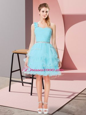 Aqua Blue One Shoulder Lace Up Beading and Ruffled Layers Custom Made Sleeveless