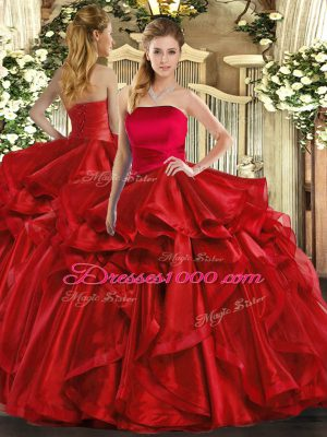 Red Strapless Lace Up Ruffles Quinceanera Dresses Sleeveless