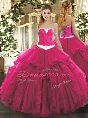 Hot Pink Sleeveless Appliques and Ruffles Floor Length Vestidos de Quinceanera