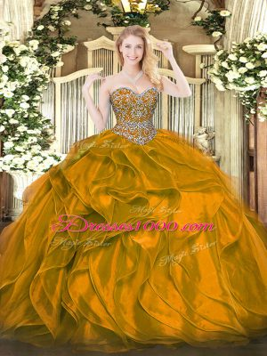 Orange Quinceanera Gowns Military Ball and Sweet 16 and Quinceanera with Beading and Ruffles Sweetheart Sleeveless Lace Up