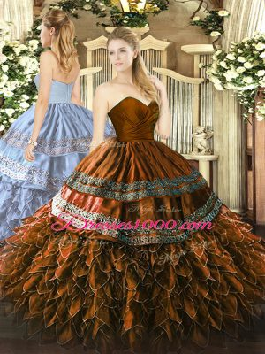 Sleeveless Embroidery and Ruffles Zipper Quinceanera Dress