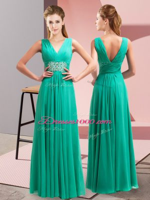 Sleeveless Chiffon Floor Length Side Zipper Prom Dress in Turquoise with Beading and Ruching