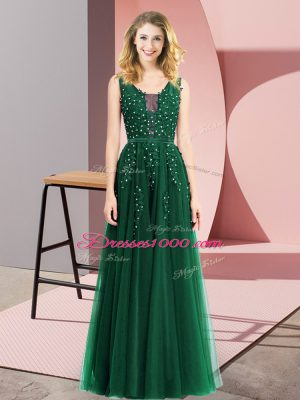 Dark Green Empire Beading and Appliques Backless Tulle Sleeveless Floor Length