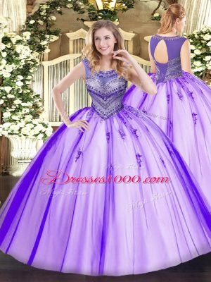 Custom Made Scoop Sleeveless Sweet 16 Dresses Floor Length Beading Lavender Tulle