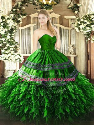 Superior Green Sleeveless Organza and Taffeta Zipper Quinceanera Dresses for Military Ball and Sweet 16 and Quinceanera