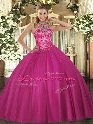 Great Floor Length Hot Pink Vestidos de Quinceanera Halter Top Sleeveless Lace Up