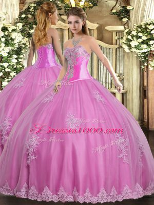 Dazzling Sleeveless Tulle Floor Length Lace Up Quinceanera Dresses in Rose Pink with Beading and Appliques