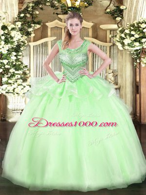 Custom Made Apple Green Ball Gowns Scoop Sleeveless Organza Floor Length Lace Up Beading Sweet 16 Dress