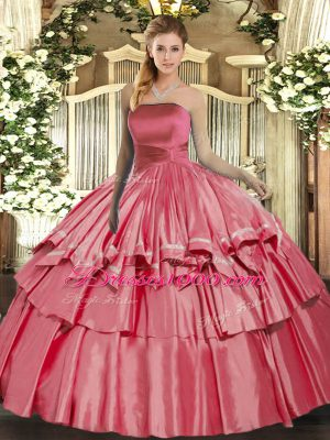 Decent Floor Length Coral Red Quinceanera Gown Strapless Sleeveless Lace Up
