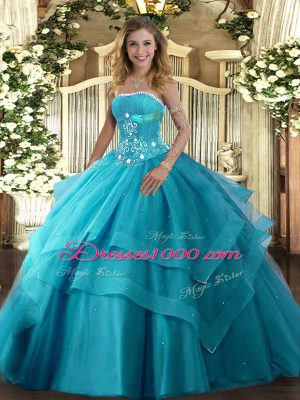 Excellent Teal Tulle Lace Up Strapless Sleeveless Floor Length Vestidos de Quinceanera Beading and Ruffled Layers