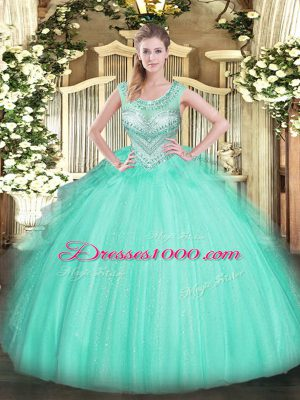 Fitting Apple Green Ball Gowns Beading Quinceanera Gown Lace Up Tulle Sleeveless Floor Length