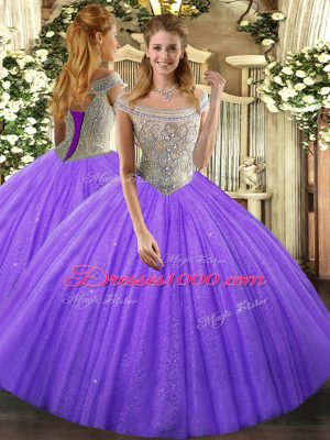 Lavender Off The Shoulder Lace Up Beading 15 Quinceanera Dress Sleeveless