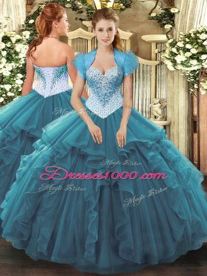 Top Selling Sleeveless Floor Length Beading and Ruffles Lace Up Sweet 16 Dresses with Teal