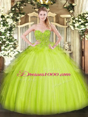 Sleeveless Tulle Asymmetrical Lace Up Quinceanera Gown in Yellow Green with Lace