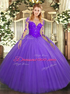 Dramatic Lavender Scoop Lace Up Lace Quinceanera Dresses Long Sleeves