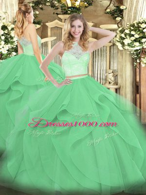 Vintage Floor Length Apple Green Quinceanera Gowns Tulle Sleeveless Lace and Ruffles