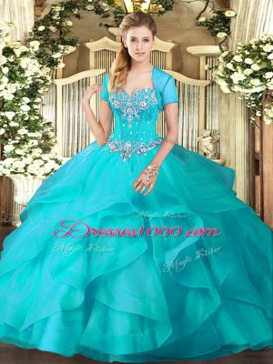 Aqua Blue Lace Up Quinceanera Dress Beading and Ruffles Sleeveless Floor Length