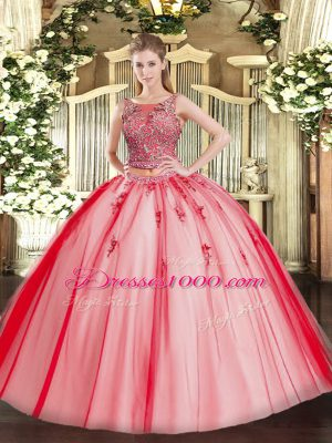 Clearance Floor Length Coral Red 15th Birthday Dress Tulle Sleeveless Beading and Appliques
