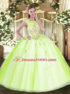 Free and Easy Beading and Appliques Sweet 16 Dresses Yellow Green Zipper Sleeveless Floor Length