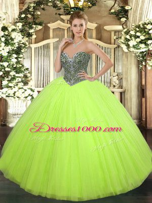 Beading Quince Ball Gowns Yellow Green Lace Up Sleeveless Floor Length