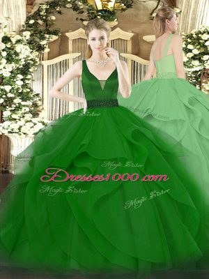 Sleeveless Floor Length Beading and Ruffles Zipper Quinceanera Gown with Dark Green