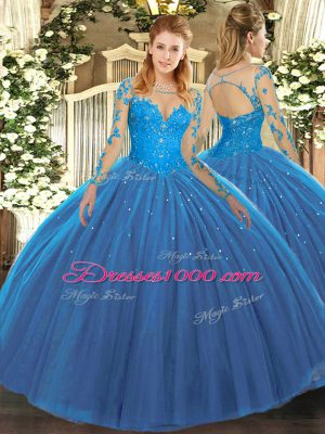 Teal Tulle Lace Up Ball Gown Prom Dress Long Sleeves Floor Length Lace