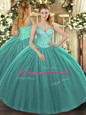 V-neck Sleeveless Lace Up 15th Birthday Dress Turquoise Tulle