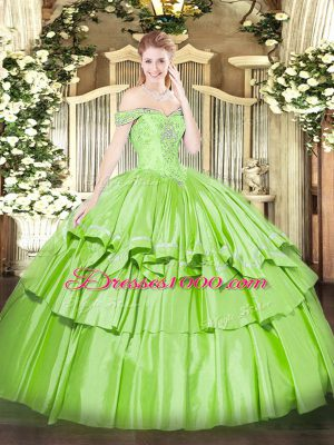 Off The Shoulder Sleeveless Quinceanera Dresses Floor Length Beading and Ruffled Layers Organza and Taffeta