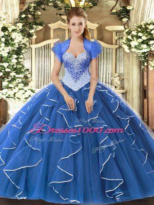 Perfect Sweetheart Cap Sleeves Vestidos de Quinceanera Floor Length Beading Blue Tulle