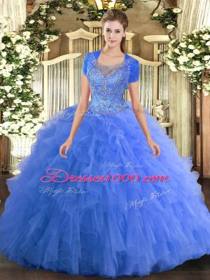 Hot Selling Sleeveless Tulle Floor Length Clasp Handle Quinceanera Dresses in Baby Blue with Beading and Ruffled Layers