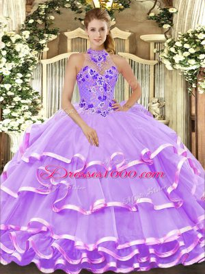 Charming Halter Top Sleeveless Quinceanera Dresses Floor Length Beading and Embroidery and Ruffled Layers Lavender Organza