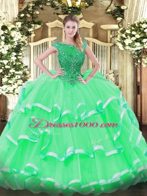 943d6ef4943 Organza Sleeveless Floor Length Quinceanera Dresses and Beading and Ruffled  Layers