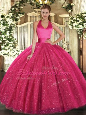 High Class Hot Pink Lace Up Halter Top Sequins Sweet 16 Dress Tulle Sleeveless