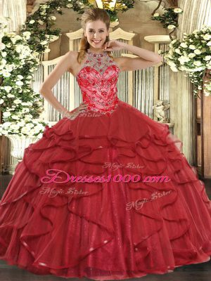 Fantastic Coral Red Lace Up Halter Top Beading and Ruffles 15th Birthday Dress Organza Sleeveless