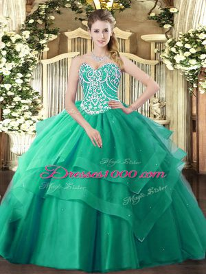 Delicate Turquoise Sleeveless Tulle Lace Up Quinceanera Dresses for Military Ball and Sweet 16 and Quinceanera