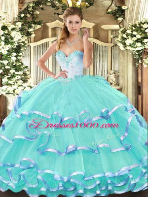 Hot Sale Turquoise Ball Gowns Beading and Ruffled Layers Quinceanera Gowns Lace Up Organza Sleeveless Floor Length