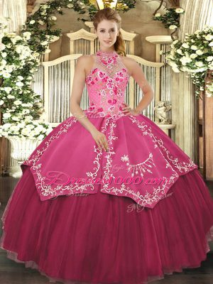 Coral Red Halter Top Neckline Beading and Embroidery Sweet 16 Quinceanera Dress Sleeveless Lace Up
