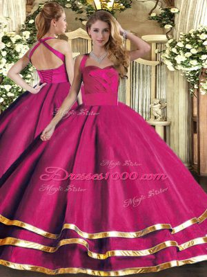 Adorable Hot Pink Lace Up Halter Top Ruffled Layers 15 Quinceanera Dress Tulle Sleeveless