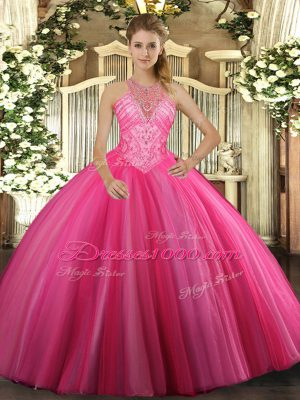Custom Fit Floor Length Lace Up Vestidos de Quinceanera Hot Pink for Military Ball and Sweet 16 and Quinceanera with Beading