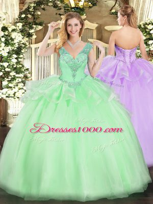 Custom Made Apple Green Ball Gowns V-neck Sleeveless Tulle Floor Length Lace Up Beading Vestidos de Quinceanera