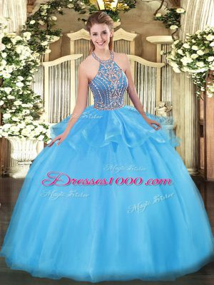 Captivating Aqua Blue Halter Top Lace Up Beading and Ruffles Vestidos de Quinceanera Sleeveless