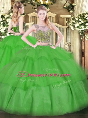 Floor Length Two Pieces Sleeveless Green 15th Birthday Dress Lace Up