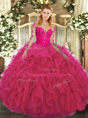 Exceptional Hot Pink Long Sleeves Floor Length Lace and Ruffles Lace Up Quinceanera Gown