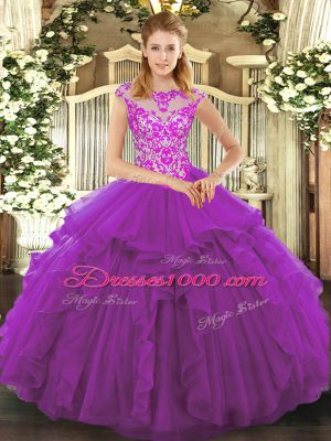 Vintage Purple Lace Up Scoop Beading and Ruffles Ball Gown Prom Dress Organza Cap Sleeves
