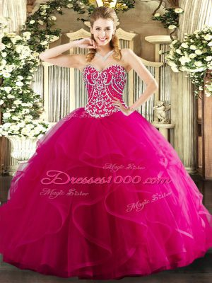 Trendy Hot Pink Ball Gowns Sweetheart Sleeveless Tulle Floor Length Lace Up Beading and Ruffles Sweet 16 Quinceanera Dress