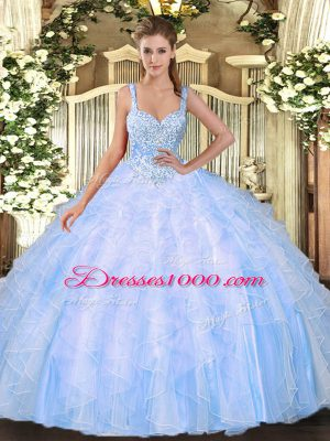 Straps Sleeveless Lace Up Sweet 16 Dresses Light Blue Tulle
