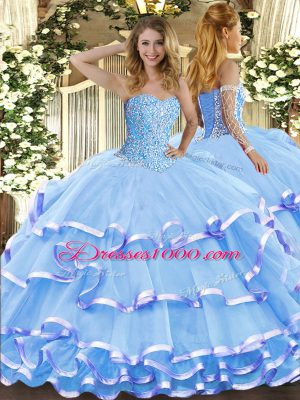 3860b8f1b0f Aqua Blue Sweetheart Lace Up Beading and Ruffled Layers Quinceanera Gown  Sleeveless